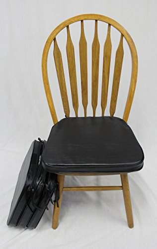 Leather Chair Pads - eHemco Faux Leather Chair Cushion in Black - Set of 4