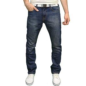 Men's Designer Straight Leg Regular Fit Jeans/w Free Belt