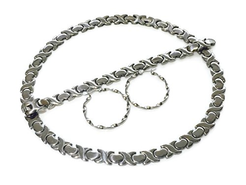 New Wide Hugs and Kisses Silver Stainless Steel Stampato Necklace Earring Bracelet Set 18 inches X and O