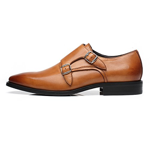La Milano Mens Double Monk Strap Slip On Loafer Leather Oxford Formal Business Casual Comfortable Dress Shoes for Men by La Milano (Image #1)