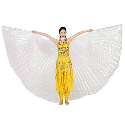 [Hot Sale! AMA(TM) Women Girls Egypt Belly Dance Wings Belly Dancing Costumes Accessories (White)] (White Rabbit Dance Costumes)