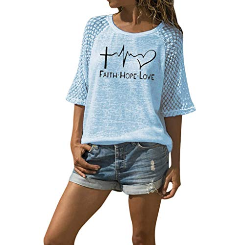 Ros1ock_Women's Tops Solid Lace Patchwork Short Sleeve T- Shirts ECG Print Casual Loose Tunics Blouse Blue