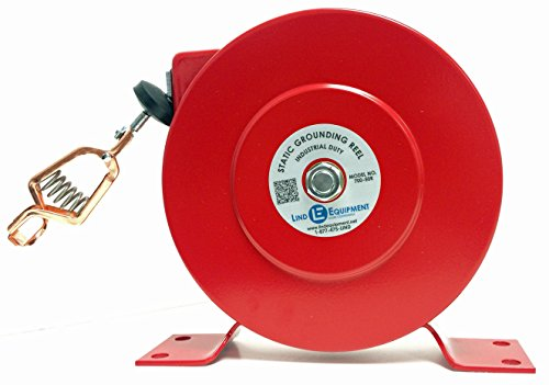 Lind Equipment 700-50R Industrial Static Grounding Reel, 50', Plated Steel Cable, Copper Alligator Clip with 100 amp Rating, 1