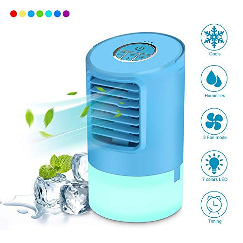 Portable Air Conditioner Fan, 4 in 1 Personal Space Air Cooler, Humidifier,7 Colors Light Changing, Desktop Cooling Fan