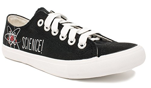 Science! | Geeky Cute, Nerdy Canvas Gym Tennis Shoe, Teacher Nerd Funny Sneaker - (Lowtop, US Men's 8, US Women's 10) Black