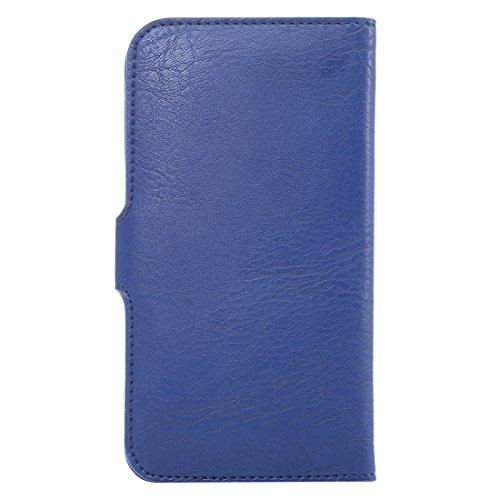 Wkae Case & Cover 5.3 pulgadas lleva la caja universal del elefante de la textura de la piel con monedero y ranuras para tarjeta para el iPhone 6 y 6s / 5 & 5S y 5C, Samsung Galaxy S7 / S6, etc. ( Col azul