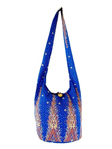 Lined Feather Print Crossbody Sling Bag (Lined Saphire Blue)