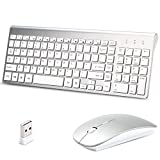 Wireless Keyboard and Mouse Combo,Lucloud 2.4GHz Ultra-Thin Portable Keyboard and Silent Mouse for PC Desktop Computer Laptop Mac Tablet (Comfortable Mouse, Sliver)