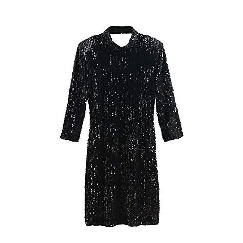 DRLYQYJF Vintage Sequined Velvet Mini Dress Women Fashion High Collar Three Quarter Sleeve Backless Sexy Dresses Chic ()