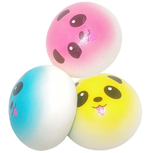 Pursuestar 3 Pack Squishy Colorful Chubby Panda Bun Bread Key Bag Pendant Cellphone Charm Strap Decoration ()