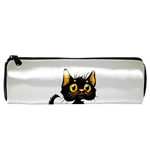 Anmarco Black Cat On Halloween Pumpkin Leather Pen Pencil Case Coin Purse Pouch Cosmetic Makeup Bag for School Work -
