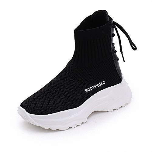 de Caminata Señoras Calzado negro Lucdespo Casual de Zapatos Hop Botas Estilo Calcetines Marea Deportivo Estudiantes Hip Alta vfw8wq