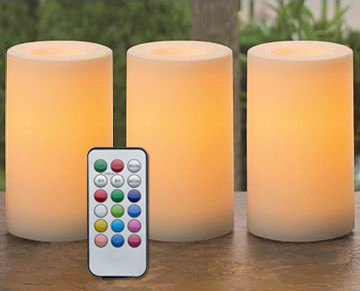 Outdoor & Indoor Flameless Candles With Timer and Remote - Real Looking Flickering LED Candles Battery Operated Set of 3 Same Size Candles Scented -12 Colors