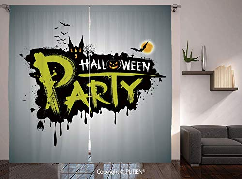 Thermal Insulated Blackout Window Curtain [ Halloween,Halloween Party Hand Drawn Brushstrokes Artistic Design Grunge Cartoon,Yellow White Black ] for Living Room Bedroom Dorm Room Classroom Kitchen Ca]()