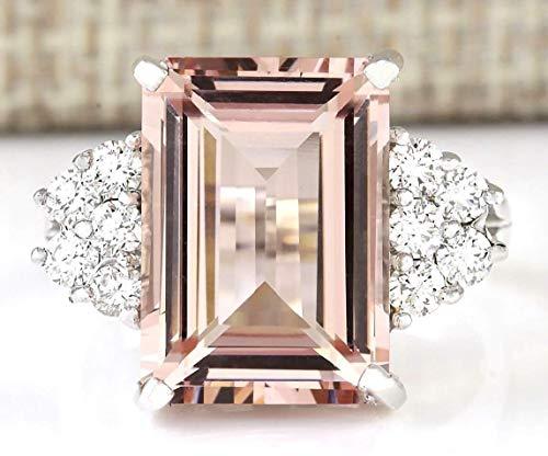 Zhiwen Chic Women Jewelry 925 Silver Natural Morganite & White Sapphire Wedding Ring Size 6-10 (US Code 9)