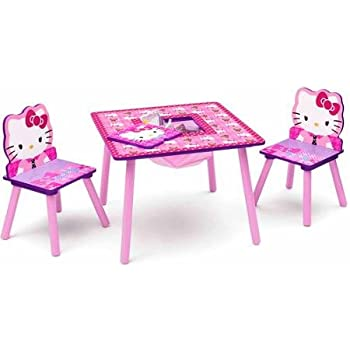 Amazon Com Hello Kitty Table And Chair Set With Storage
