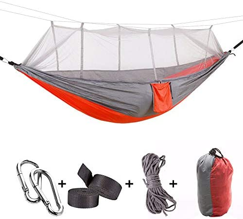 Hann Camping Hammock, Portable Camping Hammock with Mosquito Net Parachute Nylon Fabric Lightweight Hammock for Beach, Traveling, Hiking, Mountain,Adventure,Outdoor Jungle