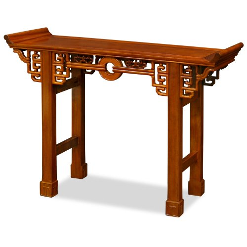 Rosewood Furniture China - China Furniture Online Rosewood Console Table, 48 Inches Coin Motif Altar Style Natural Finish