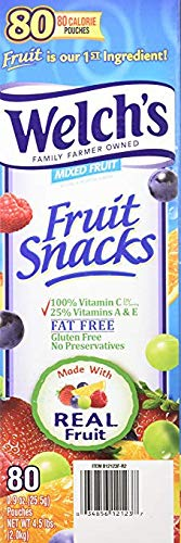Welch's Fruit Snacks, Mixed, 0.9 Ounce, 80 Count - Pack 2