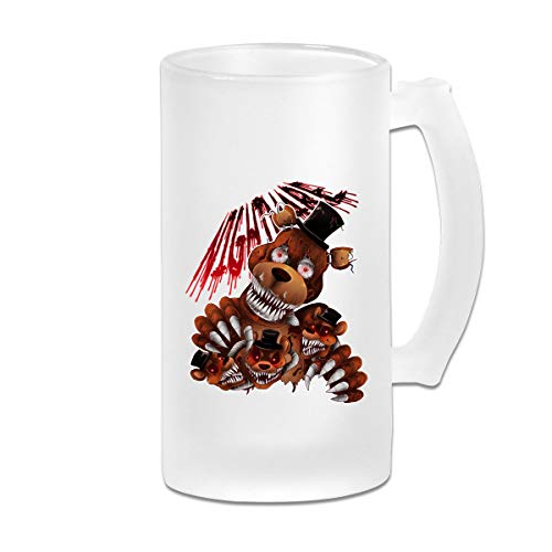 Printed 16oz Frosted Glass Beer Stein Mug Cup - Five Nights At Freddy - Graphic Mug