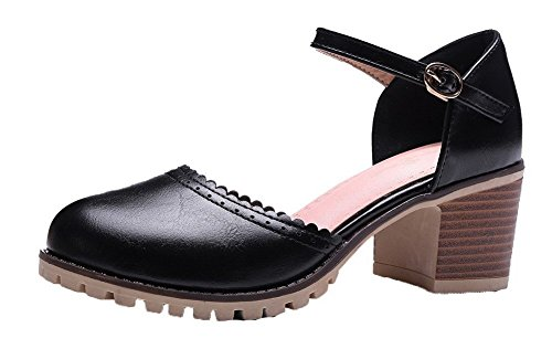 AalarDom Women's Kitten-Heels PU Solid Buckle Round-Toe Sandals, Black, 34 ()