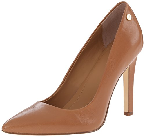 Calvin Klein Women's Brady Platform Pump, Caramel, 8.5 Brown Leather High Heel Shoes