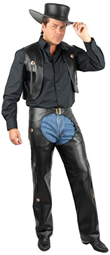 Charades Men's Plus Size Faux Leather Costume Chaps and Vest, Black, 3X -