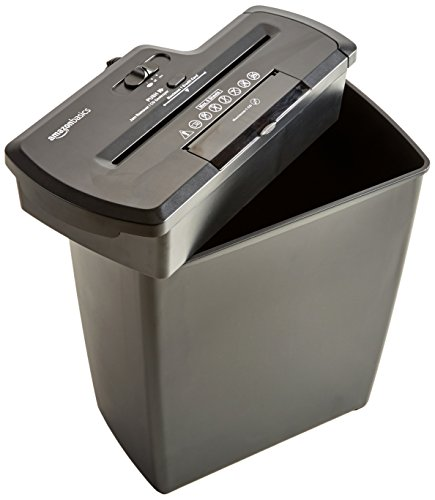 AmazonBasics 8-Sheet Strip-Cut Paper, CD and Credit Card Home Office Shredder
