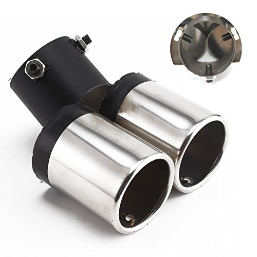 Jueyan Doppele Double-Ended Exhaust Pipe Trim Exhaust Tailpipe Stainless Steel Exhaust System: