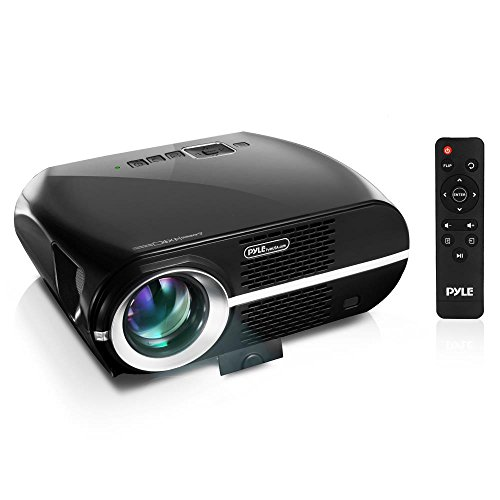 "Updated Pyle Video Projector 5.8"" LCD Panel LED Lamp Cinema Home Theater w/ Built-in Stereo Speakers 2 HDMI Ports and Keystone Adjustable Picture Projection for TV PC Computer and Laptop PRJLE67"