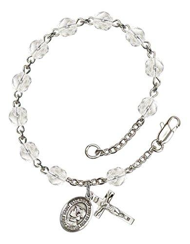 (April Birth Month Bead Rosary Bracelet with Saint Elizabeth Ann Seton Petite Charm, 7 1/2 Inch)