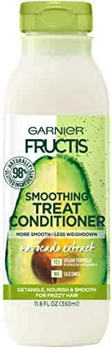 Garnier Fructis Smoothing Treat Conditioner, 98 Percent Naturally Derived Ingredients, Avocado, Nourish and Smooth for Frizzy Hair, 11.8 fl. oz.
