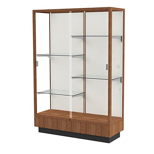 (Classic Display Case with Fabric Backing Danish Walnut/Oyster Backing)