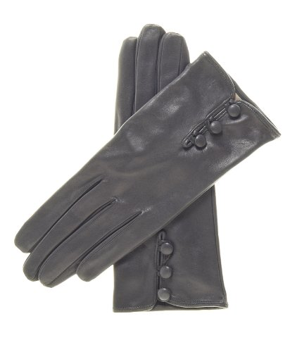 Fratelli Orsini Women's Italian Silk Lined Lambskin Leather Gloves with Buttons Size 8 1/2 Color Charcoal by Fratelli Orsini