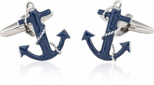 Navy Blue Anchor Rope Cufflinks Cuff-Daddy CD-2097