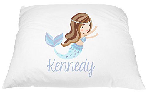 Personalized Girl's Mermaid Pillowcase Microfiber Polyester Standard 20 by 30 Inches, Brunette Name Pillow for Girls, Custom Pillowcase, Kids Bedding Pillows, Girls Mermaid Pillow Cover Bedding
