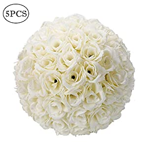 Binlin Artificial Flowers Roses,5/10 Pack 9.84 Inch Romantic Rose Pomander Flower Balls for Wedding Centerpieces Decorations 93