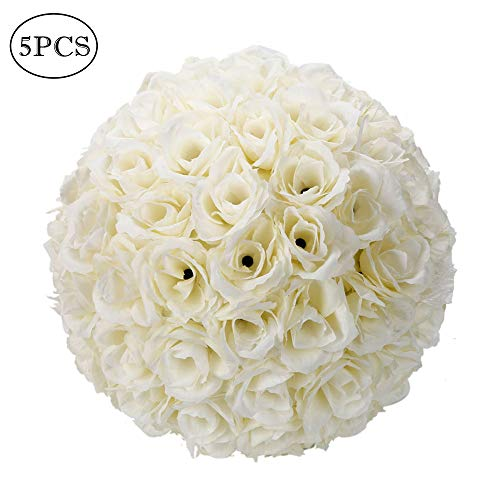 Yscharm Artificial Satin Flower Ball 10 Inch Wedding Flower Balls Kissing Balls Hanging Flower Ball Simulation Flower for Home Outdoor Wedding Party Ceremony Centerpieces Decorations(5 PCS, Ivory)