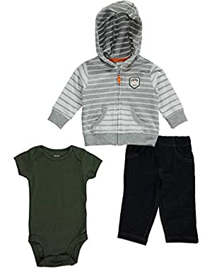 Carter's 3 Piece Cardigan Set, Gray Stripe, 6 Months