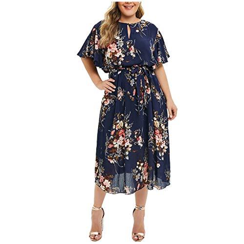 TANGSen Fashion Women Off Shoulder O-Neck Dress Vintage Plus Size Lace Up Dress Maxi Flowing Floral Print Loose Dress
