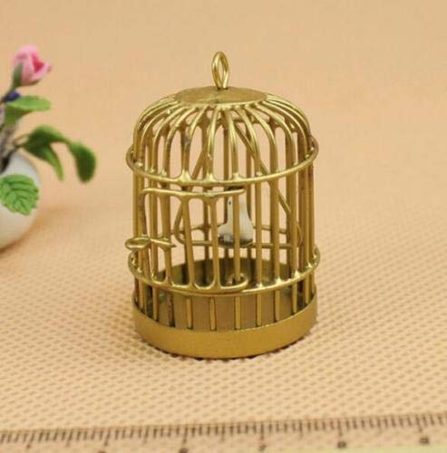 Miniature Storybook - 1:12 Dollhouse Miniature Furniture Metal Gold Bird Cage With Bird Garden Decor ☆