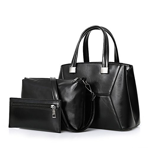 Coolives Bag Woman Fashion Bags Sets Bag Top Handle Leather Oil Wax Bag Shoulder Bag Black