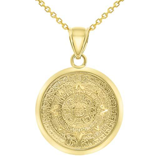 14k Yellow Gold Mayan Sun Calendar Medallion Pendant Necklace, 22