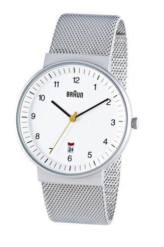 Braun Men's Analog Watch White Face, Steel Mesh Band 40mm