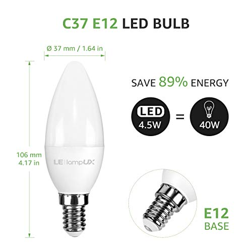LampUX Smart LED Light Bulb, E12 40W Equivalent, Compatible with Alexa and Google Assistant, No Hub Required, Dimmable, Tunable White (2700K-6500K, Soft White to Daylight White), Pack of 2
