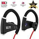 Bluetooth Headphones w/ 12+ Hours Battery - Best Workout Wireless Sport Earphones w/Mic - IPX7 Waterproof Music Earbuds for Gym Running