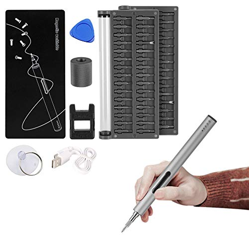 (Portable Electric Screwdriver Lithium Alloy Body USB Charging, 56 Precision Drill Bits and 3 LED Lights Cordless Screwdriver Automatic, Manual Two Modes can Be Used For Smart Phone, RC Drone, Computer)