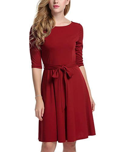 Meaneor Womans 3/4 Sleeve Round Neck Fit and Flare Casual Cocktail Dress w/ Belt, Small, Red