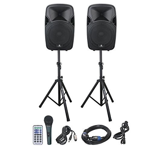 PRORECK PARTY 12 Portable 12-Inch 600 Watts 2-Way Powered PA Speaker System Combo Set with Bluetooth/USB/SD Card Reader/ FM Radio/Remote Control/Speaker Stand
