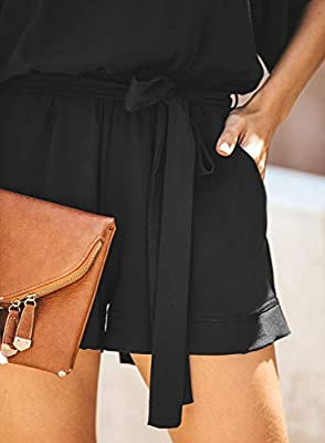 Paitluc Women Casual Loose Short Sleeve Belted Wide Legs Pant Romper Jumpsuits